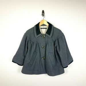 Marc Jacobs Cropped Swing Coat SZ L Gray Lined